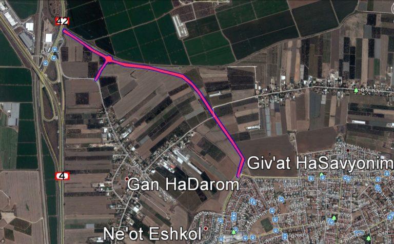 המסלול המתוכנן של כביש הגישה הצפוני